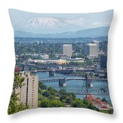 Portland Cityscape With Mount Saint Helens View Throw Pillow