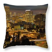 Portland Downtown Cityscape And Freeway At Night Throw Pillow