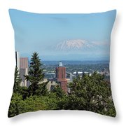 Portland Downtown Cityscape With Mount Saint Helens View Throw Pillow