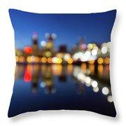 Portland Downtown Skyline Blue Hour Blurred Defocused Bokeh Throw Pillow