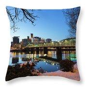 Portland Downtown Winter Night Scene Throw Pillow