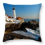 Portland Head Light - Lighthouse Seascape Landscape Rocky Coast Maine Throw Pillow by Jon Holiday