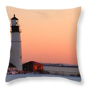 Portland Head Light At Dawn - Lighthouse Seascape Landscape Rocky Coast Maine Throw Pillow