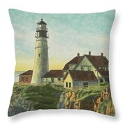 Portland Head Light At Sunrise Throw Pillow