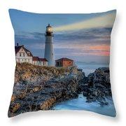 Portland Head Light At Sunrise I Throw Pillow