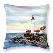 Portland Head Light In Maine Throw Pillow
