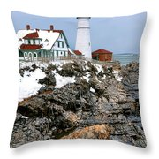 Portland Head Light In Winter Throw Pillow
