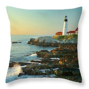 Portland Head Light No. 2  Throw Pillow by Jon Holiday