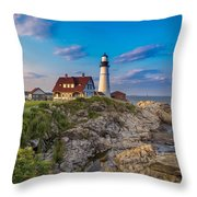Portland Head Lighthouse Throw Pillow by Cindy Lark Hartman