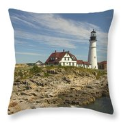 Portland Head Lighthouse Throw Pillow by Mike McGlothlen