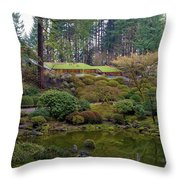 Portland Japanese Garden By The Lake Throw Pillow