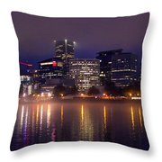Portland Night Skyline Throw Pillow