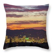 Portland Oregon City Skyline Sunset Panorama Throw Pillow