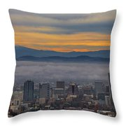 Portland Oregon Cityscape And Mount Hood At Sunrise Throw Pillow