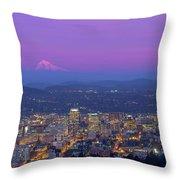 Portland Oregon Cityscape At Dusk Throw Pillow