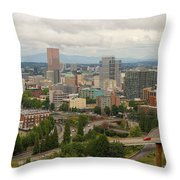Portland Oregon Downtown Cityscape By Freeway Throw Pillow