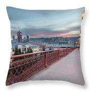 Portland Oregon Downtown On Broadway Bridge Throw Pillow