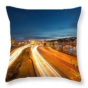 Portland Oregon Interstate Freeway Light Trails Throw Pillow
