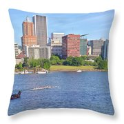 Portland Oregon Skyline And Rowing Boats. Throw Pillow
