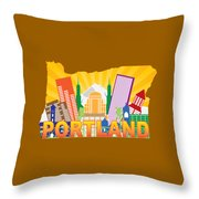 Portland Oregon Skyline In State Map Throw Pillow