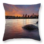 Portland Skyline Along Willamette River At Sunset Throw Pillow