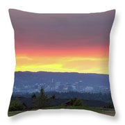 Portland Skyline From Altamont Park At Sunset Throw Pillow