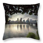 Portland Skyline Under The Trees At Sunset Throw Pillow