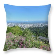 Portland Skyline With Mount Hood Throw Pillow