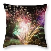 Portland Waterfront 4th Of July Fireworks Throw Pillow