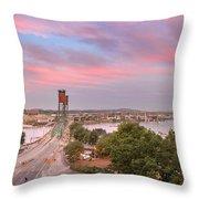 Portland Waterfront Hawthorne Bridge At Sunset Throw Pillow