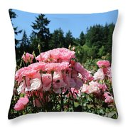Portland's Pink Roses Throw Pillow