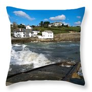 Portmellon In Winter Throw Pillow