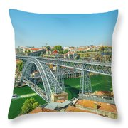 Porto Bridge Skyline Throw Pillow