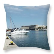 Porto Carras Harbor With Yacht And Resort Throw Pillow