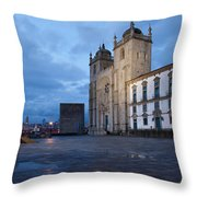 Porto Cathedral And Pillory Column In Portugal Throw Pillow