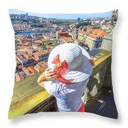 Porto Skyline Woman Throw Pillow
