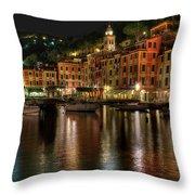 Portofino Bay By Night II - Notte Sulla Baia Di Portofino II Throw Pillow