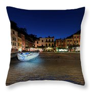 Portofino Bay By Night IIi- Piazzetta Di Portofino By Night Throw Pillow
