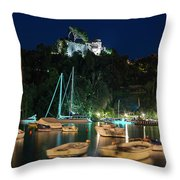 Portofino Bay By Night Iv - Castello Brown Castle Throw Pillow
