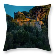 Portofino Bay By Night Vi - Castello Brown Throw Pillow