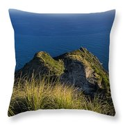 Portofino Green And Blu Liguria Rocks And Sea Throw Pillow