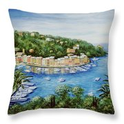 Portofino Majestic Panoramic View Throw Pillow by Marilyn Dunlap