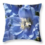 Portrait Blue Delphinium 114 Throw Pillow