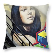 Portrait By The Back Stair Throw Pillow