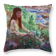 Portrait By The Stream Throw Pillow