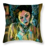 Portrait Colorful Female Wistfully Thoughtful Pastel Throw Pillow