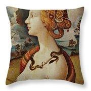 Portrait De Femme Dit De Simonetta Vespucci Throw Pillow
