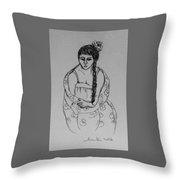 Portrait Girl Throw Pillow