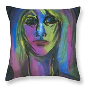 Portrait In Black And Blue Throw Pillow