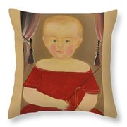 Portrait Of A Blonde Boy With Red Dress With Whip Throw Pillow